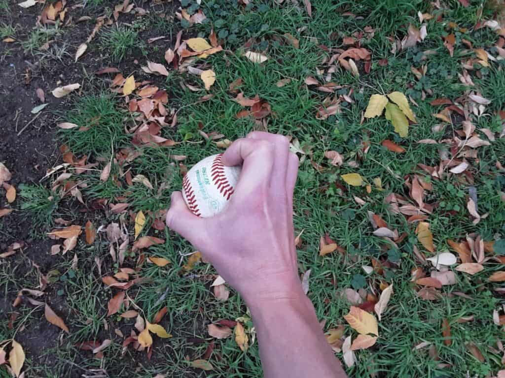 Four-Knuckle Knuckleball Grip Side View