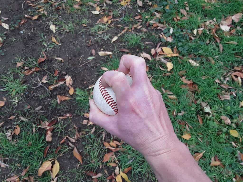Two-Knuckle Knuckleball Grip Overhead View