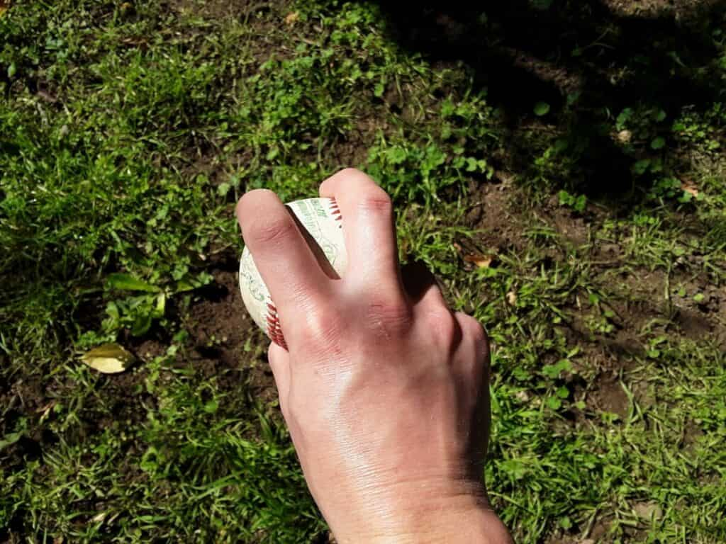 Two-Seam Fastball Grip Overhead View