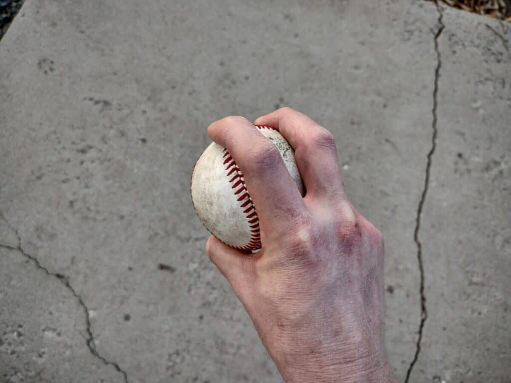 Sinker Pitch With Fingers Over Horseshoe - Overhead View
