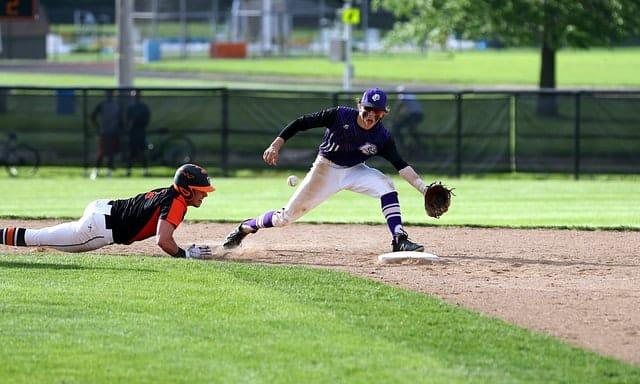 Sliding Baseball Play at Second Base