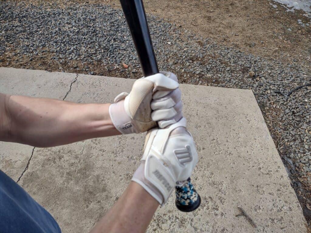 Gripping Baseball Bat Using Batting Gloves