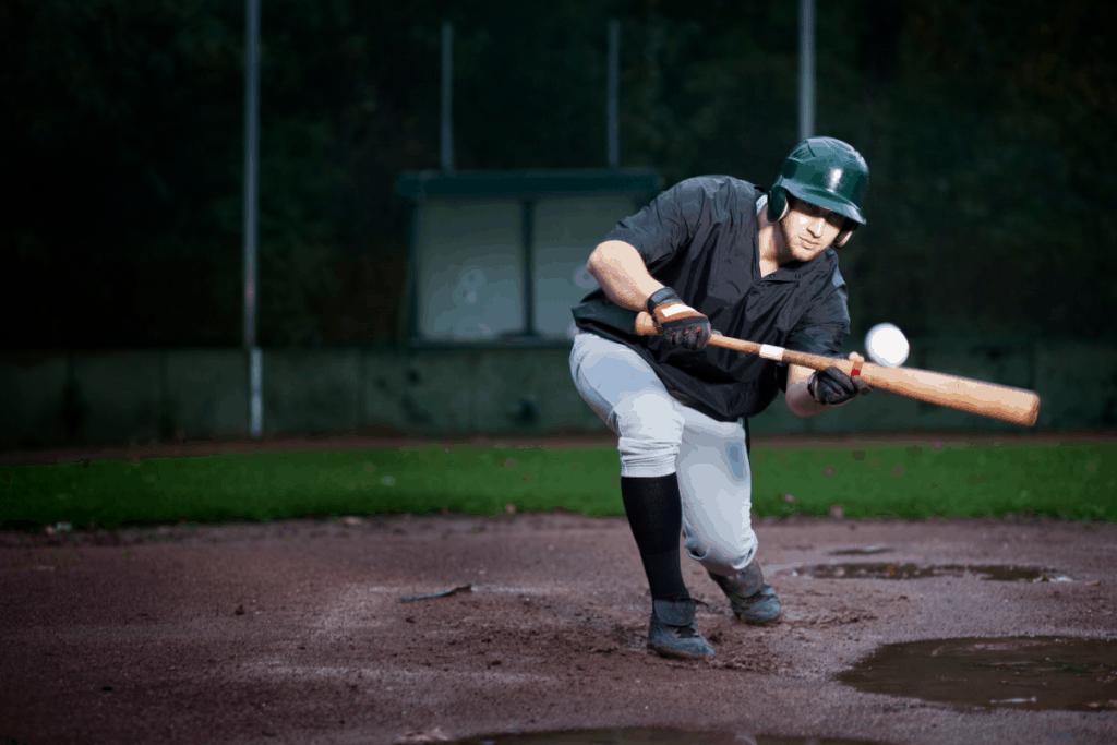 Baseball Player Bunting Ball