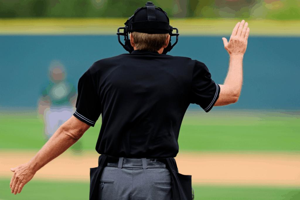 Baseball Umpire Calling Time