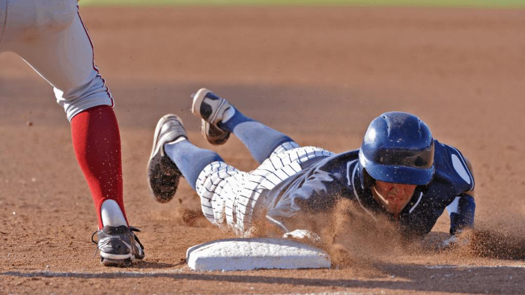 Baseball Player Sliding Head First