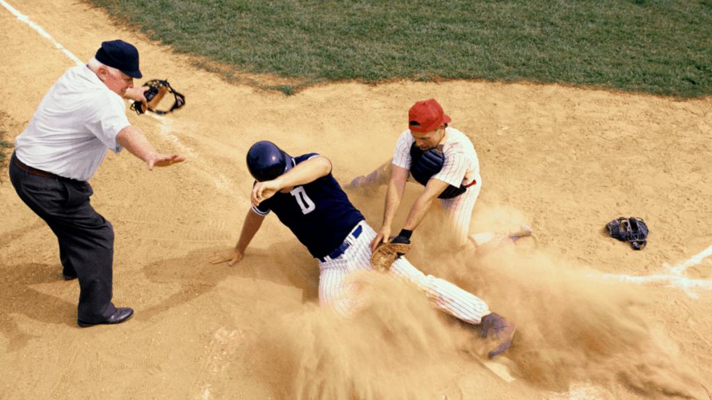 Baseball Player Sliding Into Home